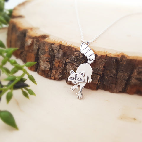 Raccoon Charm Sterling Silver Woodland Animal Necklace