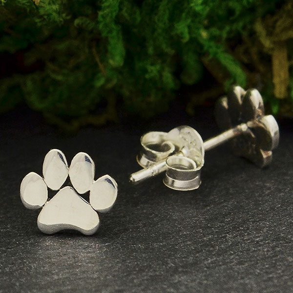 Sterling Silver Paw Print Post Earrings