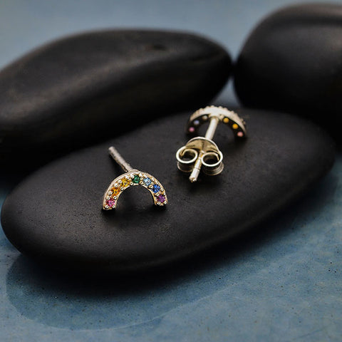 Rainbow Post Earrings with Nano Gems
