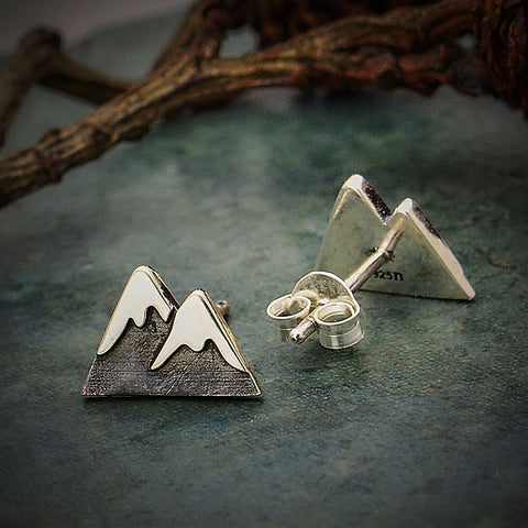 Snow Cap Mountain Sterling Silver Post Earrings