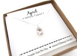 White Topaz - April Birthstone - Sterling Silver Necklace