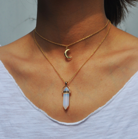 Gold Moon Charm and Opalite Crystal Choker Layered Necklace
