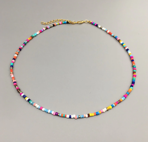Colorful Seed Bead Choker Necklace