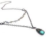 Oxidized Sterling Silver Labradorite Necklace
