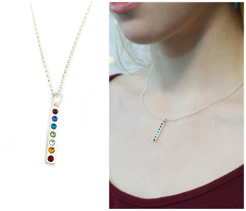 Chakra Rainbow Charm Necklace - Sterling Silver Necklace - Gift for Her