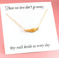 Gold Sideways Angel Wing Memorial Necklace Sympathy Gift - Miscarriage Necklace - Loss Necklace - 14k Gold Filled - Memorial Jewelry