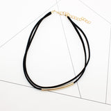 Velvet Tube Bead Layered Choker