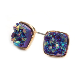 Rainbow Faux Druzy Square Stud Earrings
