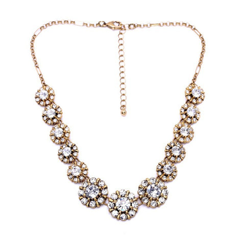 Brynn - Crystal Floral Statement Necklace
