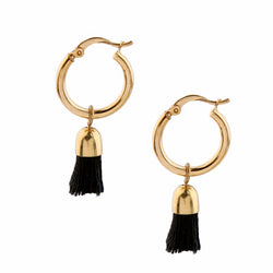 Gold Hoop Black Tassel Earrings