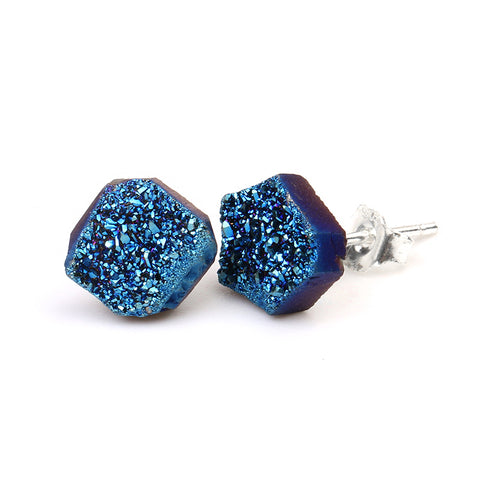 Natural Druzy Quartz Stone Stud Earrings