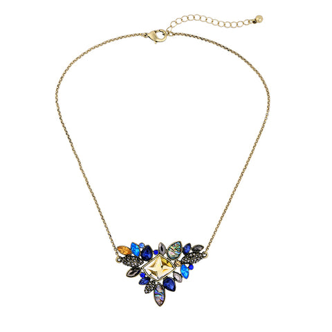 Laci - Colorful Rhinestone Triangle Pendant Necklace