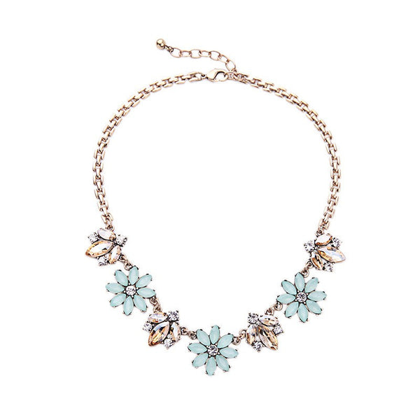 Nicole - Crystal Floral Statement Necklace