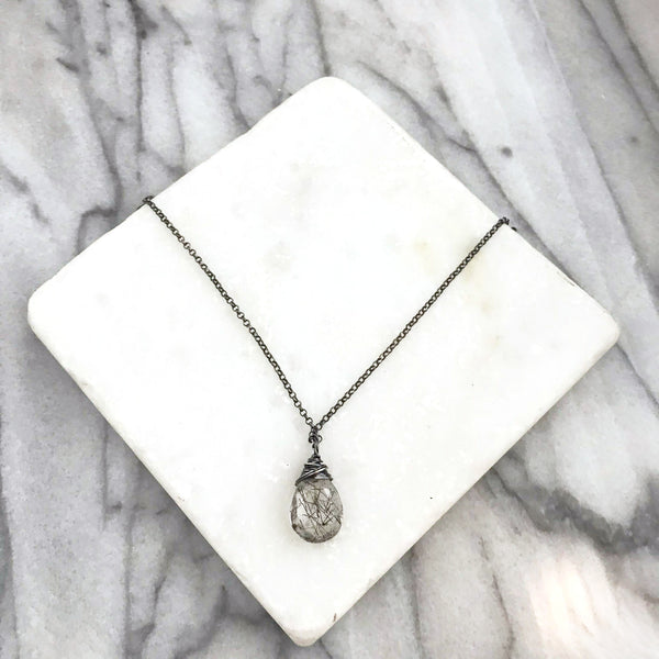 Rutiliated Quartz - Wired Wrapped - Oxidized Sterling Silver - Friendship Necklace - Gift for Her