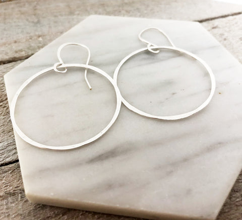 Hoop Earrings - Dainty Hammered Hoop Earrings - Handmade Hoops - Gift for Her