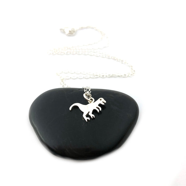 Tyrannosaurus Rex Dinosaur Charm Necklace - Sterling Silver Jewelry