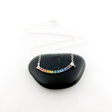 Rainbow Pendant with Nano Gems Charm Necklace - Sterling Silver Jewelry