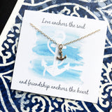 Anchor Necklace - 14k Gold Filled - Friendship Quote - Gift for Her