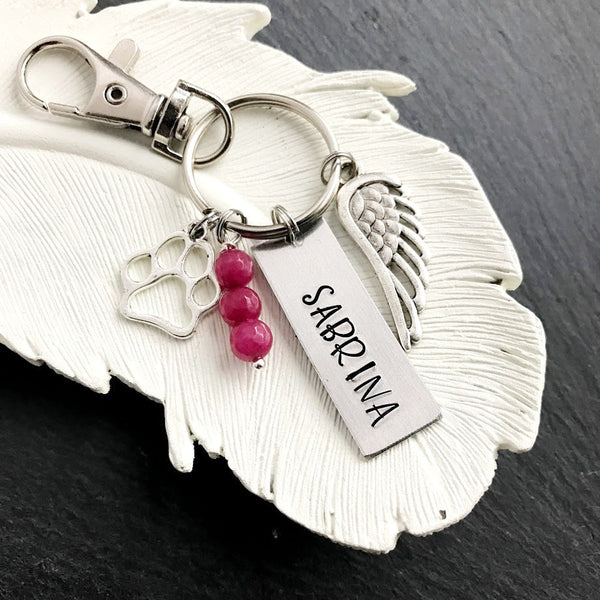 Personalized Name Pet Key Chain - Pet Memorial Angel Wing Hand Stamped Key Chain - Sympathy Gift