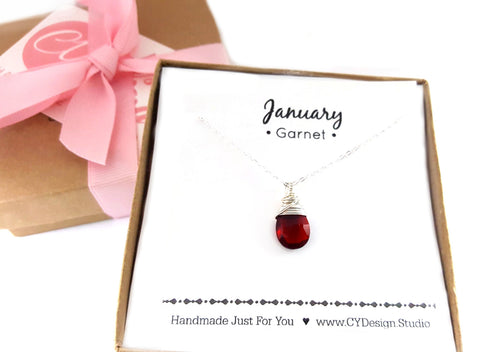 Garnet - January Birthstone - Sterling Silver Necklace
