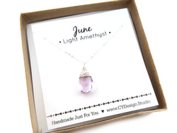 Light Amethyst - June Birthstone - Sterling Silver Necklace