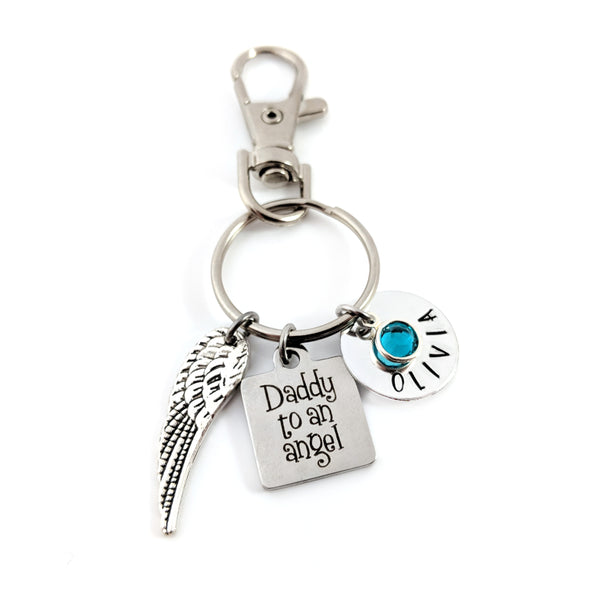 Daddy to an Angel Key Chain - Hand Stamped Key Chain - Sympathy Gift For Him