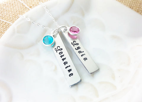 Mommy Necklace - Personalized Name Bar - Sterling Silver Necklace