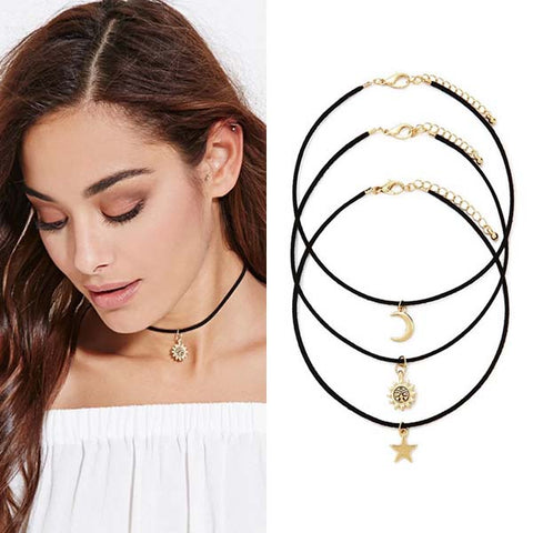 Moon Sun Star Black Velvet Choker Trio