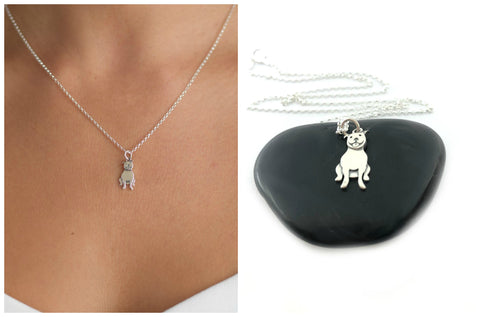 Pit Bull Charm Necklace - Sterling Silver Jewelry