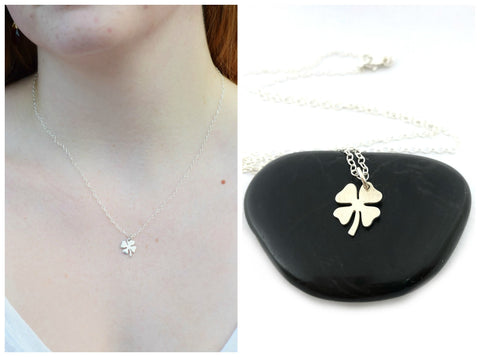 Four Leaf Clover Charm Necklace - Sterling Silver Jewelry