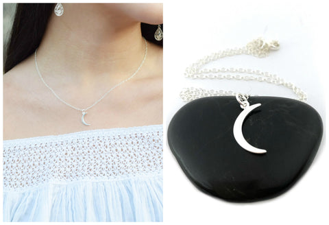 Moon Crescent Charm Necklace - Sterling Silver Jewelry