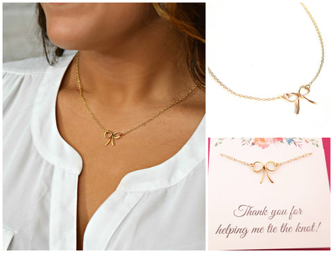 Thank You For Helping Me Tie The Knot - Gold Bow Necklace - Bridesmaid Necklace