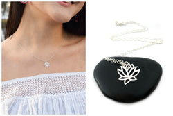 Lotus Flower Charm Necklace - Sterling Silver Jewelry
