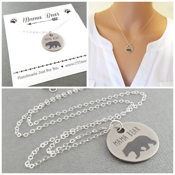 Mama Bear Necklace - Sterling Silver Jewelry - Gift For Mom