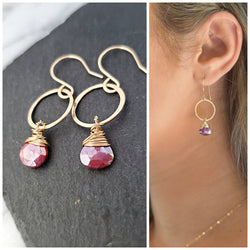Summer Mood Earrings - 14k Gold Fill Earrings - Hammered Gemstone Hoop Earrings