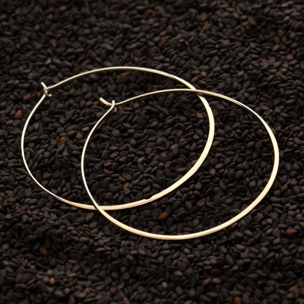 Sterling Silver Half Hammered Circle Earring Hoops 50mm