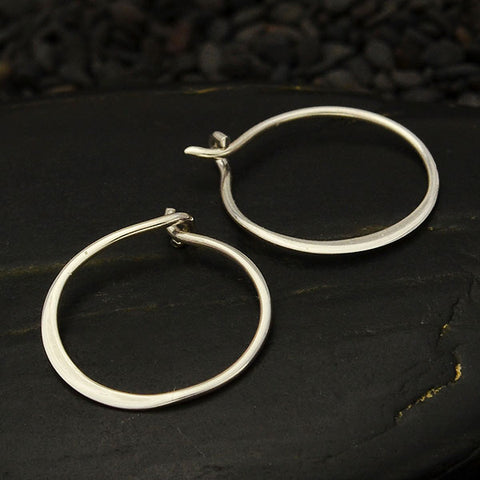Sterling Silver Half Hammered Circle Hoop Earrings 15mm