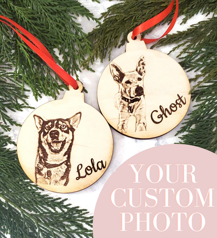 Custom Photo Pet Wooden Christmas Tree Ornament - Stocking Stuffer