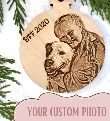 Custom Photo Wooden Christmas Tree Ornament - Stocking Stuffer