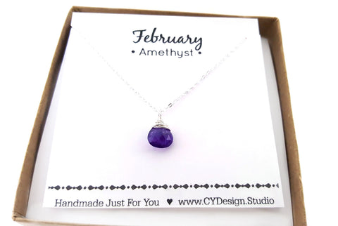 Amethyst  - February Birthstone - Sterling Silver Necklace