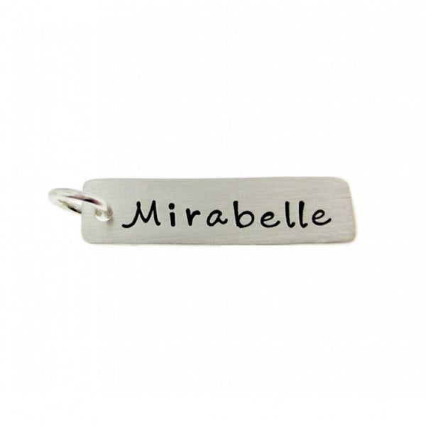 Add a Hand Stamped Name or a Date Charm -  Long Rectangle Tag