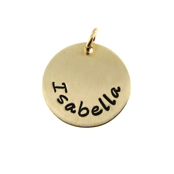 Add a Hand Stamped Name or a Date Charm - 5/8 inch Round 14K Gold Filled Tag