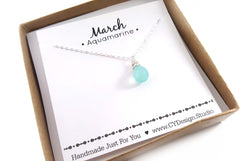 Aquamarine - March Birthstone - Sterling Silver Necklace