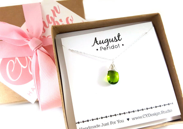Peridot - August Birthstone - Sterling Silver Necklace
