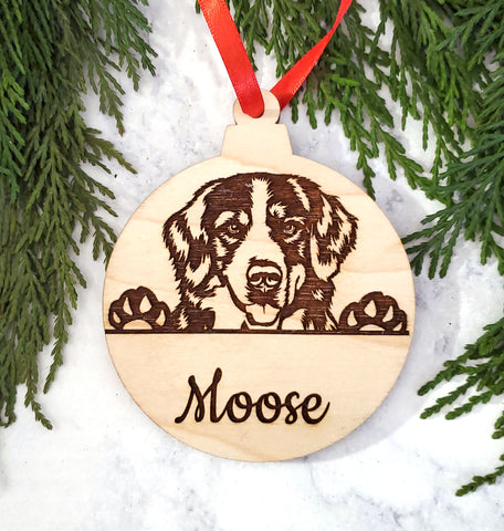 Bernese Mountain Dog Personalized Name Wooden Christmas Ornament