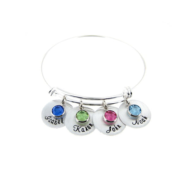 Mother's Birthstone and Name Disc Bangle Bracelet