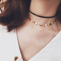 Faux Leather and Gold Coin Disc Layered Choker