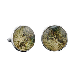 Vintage World Map Mens Cufflinks
