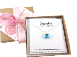Blue Topaz Gemstone - December Birthstone - Sterling Silver Necklace