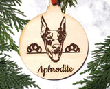 Doberman Pinscher Personalized Name Wooden Christmas Ornament